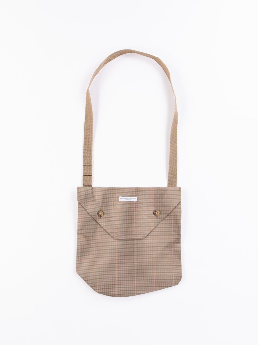 Khaki Nyco Mini Tattersall Shoulder Pouch