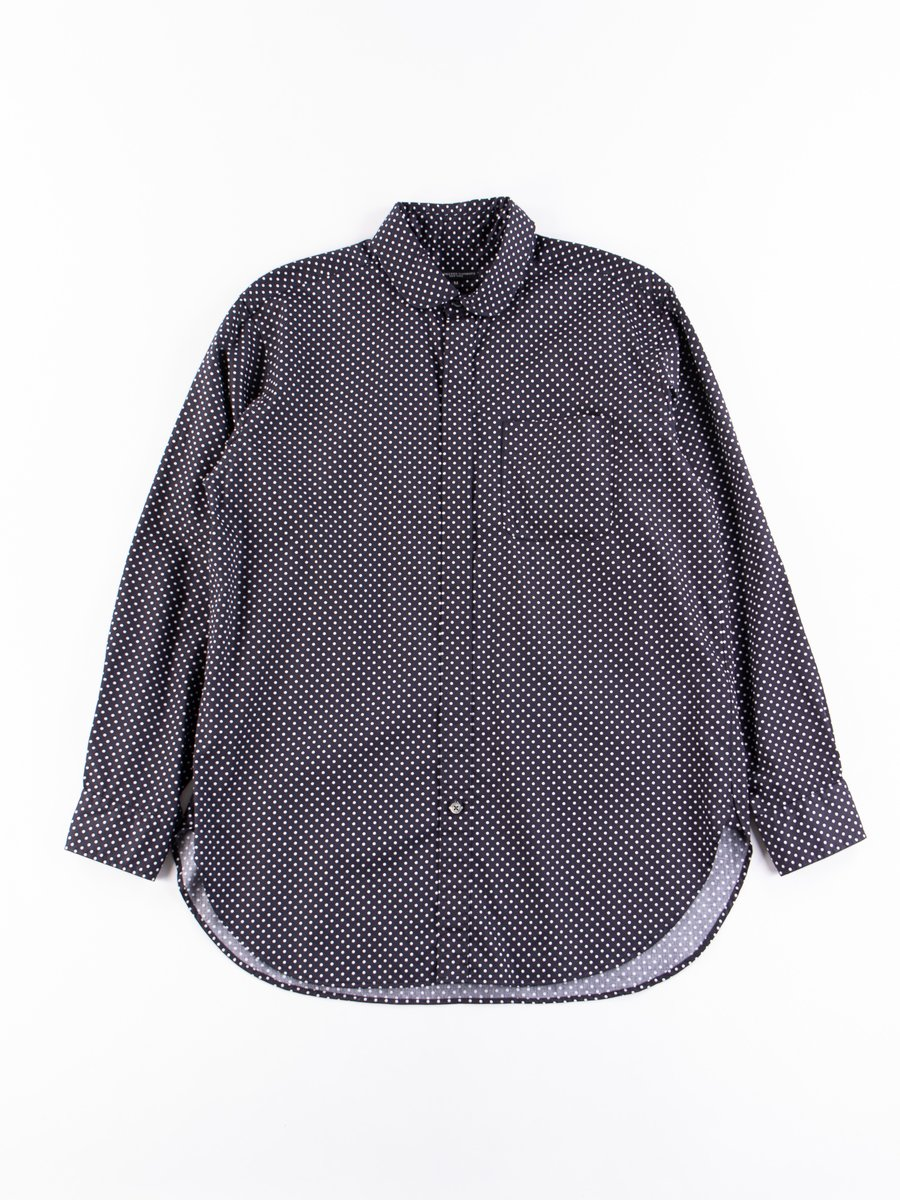 Navy Cotton Big Polka Dot Broadcloth Rounded Collar Shirt