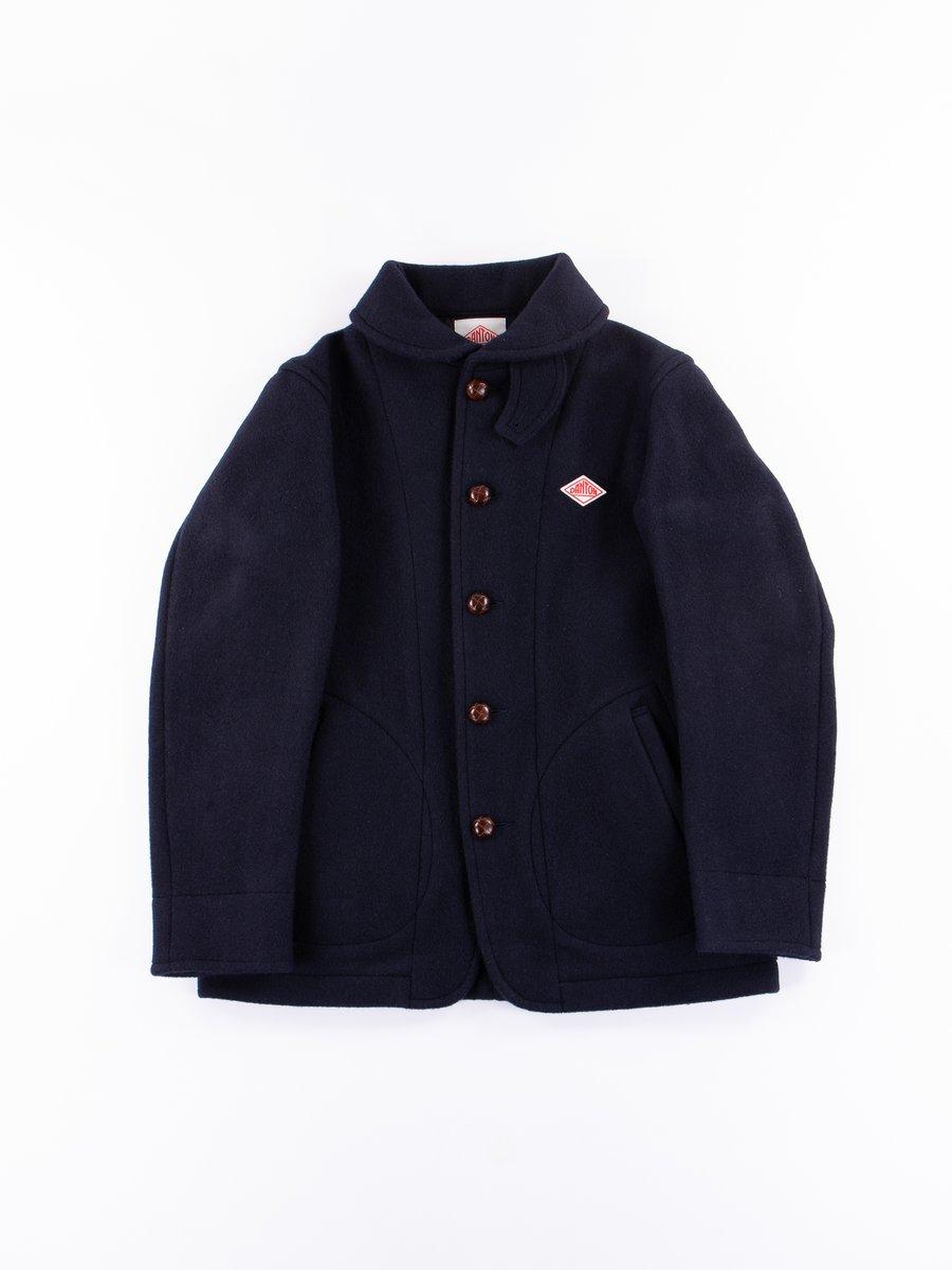 Navy Wool Mossa Round Collar Jacket