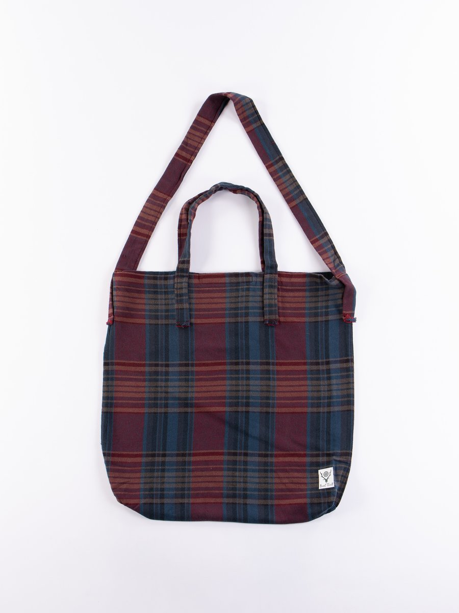 Navy/Red Plaid Twill Grocery Bag