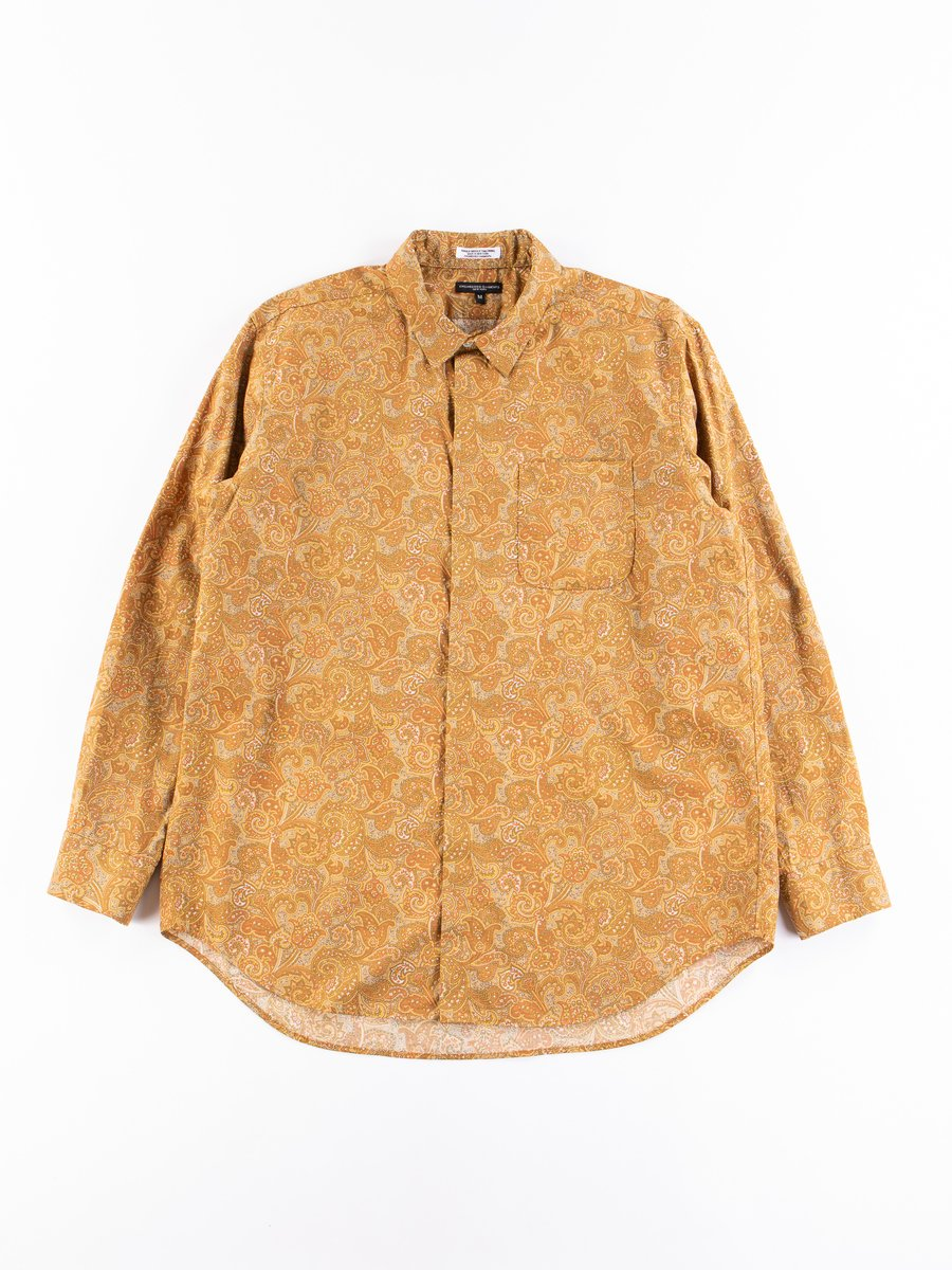 Tan/Olive Cotton Paisley Print Short Collar Shirt