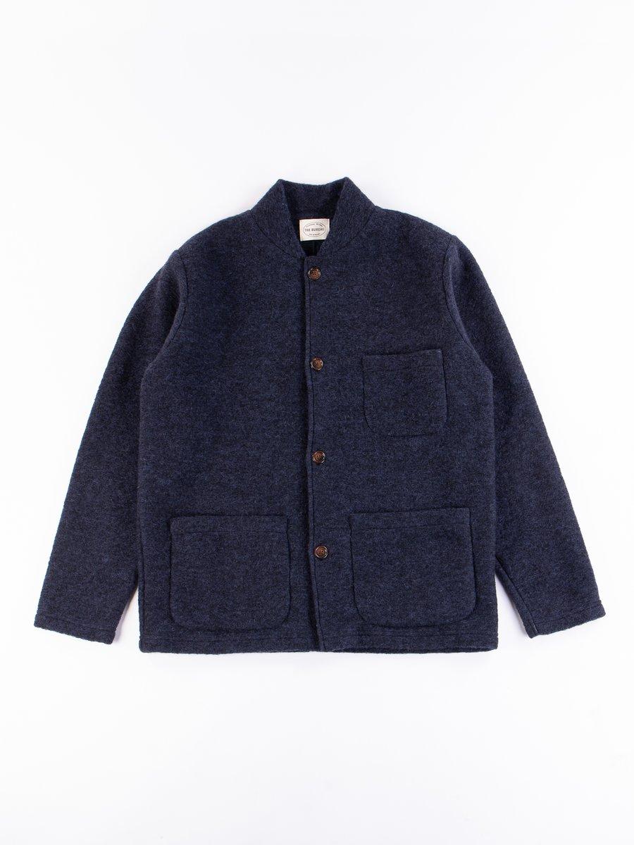 Navy Wool Fleece Knitwork Jacket