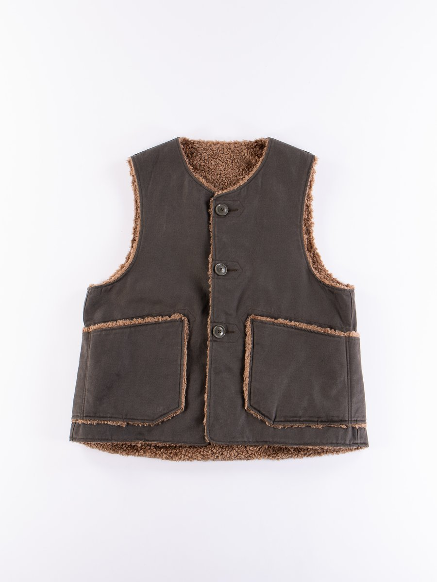 Dark Olive Coated Twill Over Vest