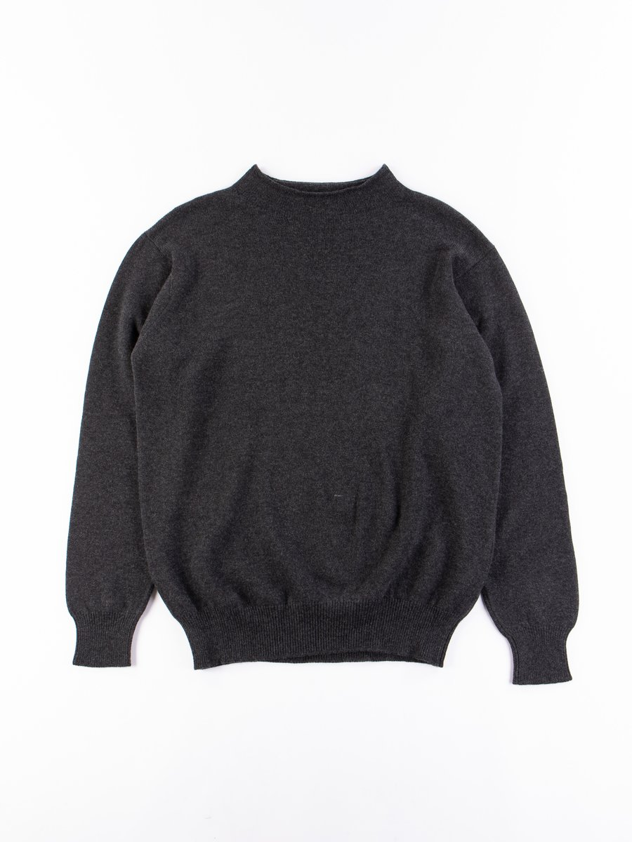 Charcoal Merino Wool High Neck Sweater
