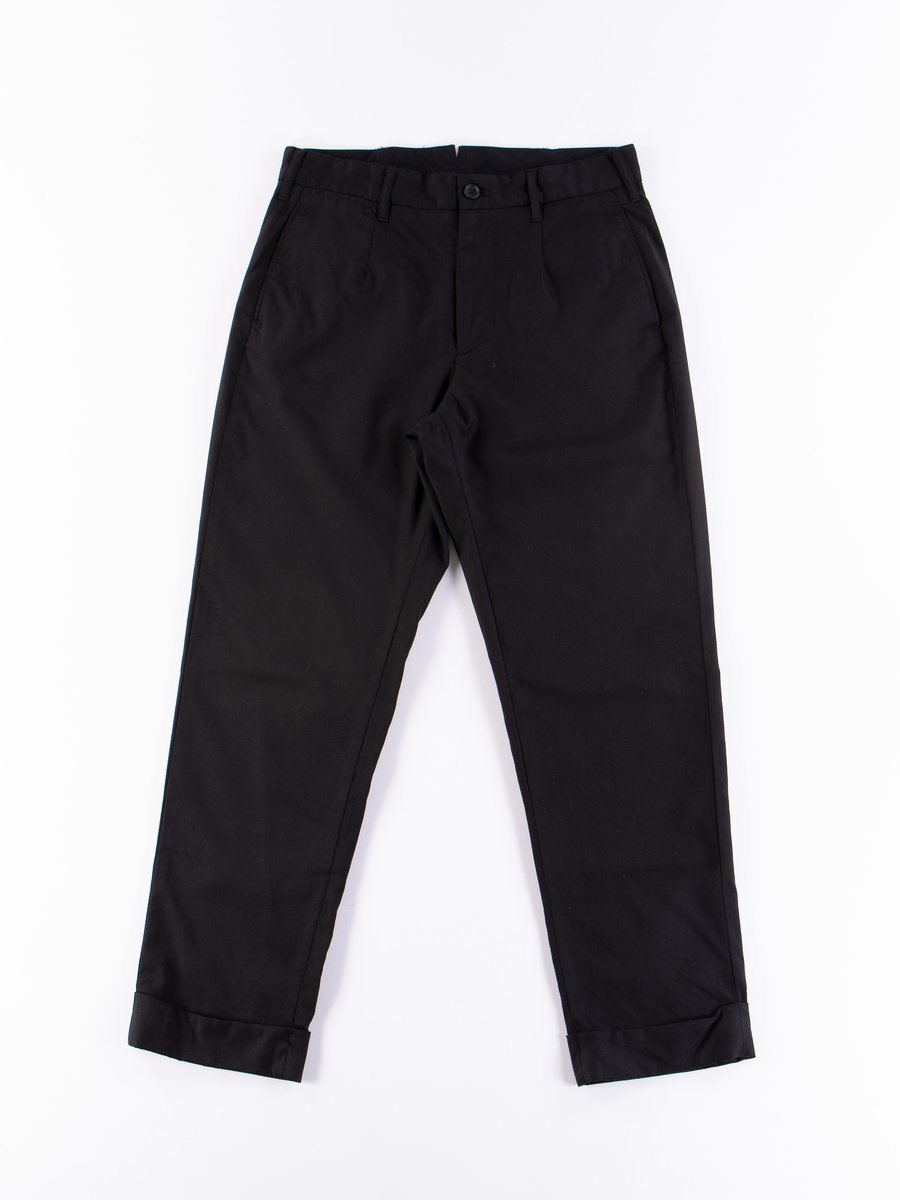 Black Worsted Wool Gabardine Andover Pant