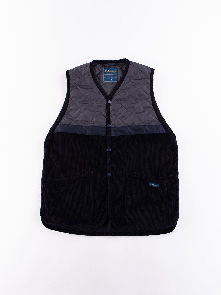 Navy Washed Cord Taped Gilet