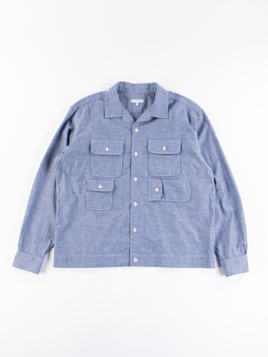 Blue Cotton Chambray Bowling Shirt