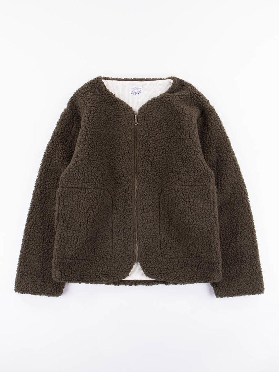 Olive Boa Fleece Zip Reversible Cardigan