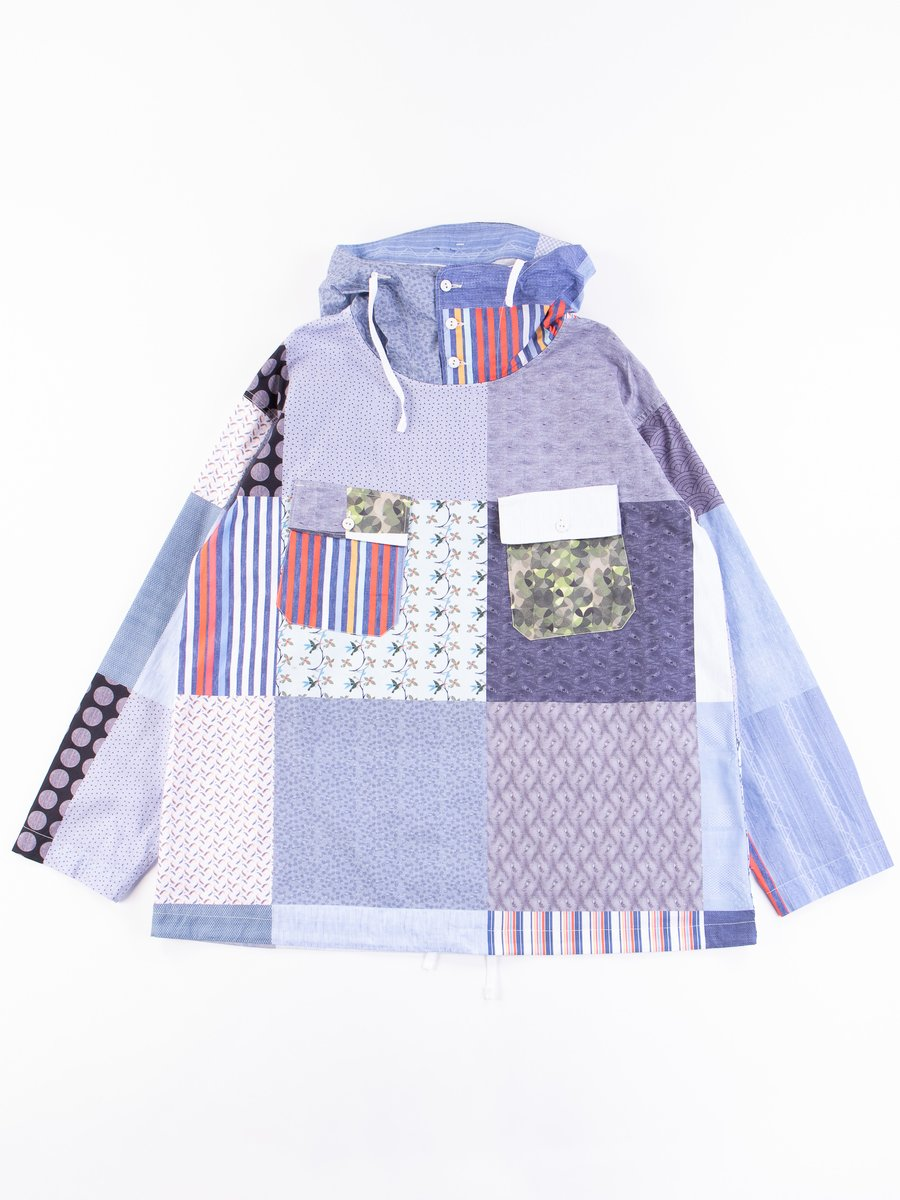 Multi Random Square Patchwork Cagoule Shirt