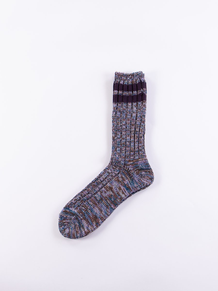 Blue/Purple 2 Line Rib Crew Socks