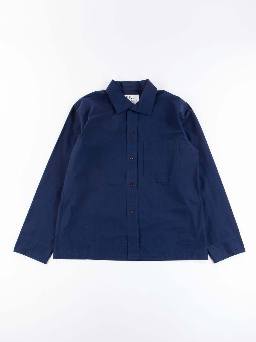 MHL Indigo Cotton Poplin Asymmetric Collar Shirt
