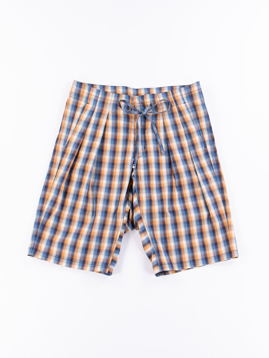 Blue/Orange Plaid Oxford Vancloth Drop Crotch Shorts
