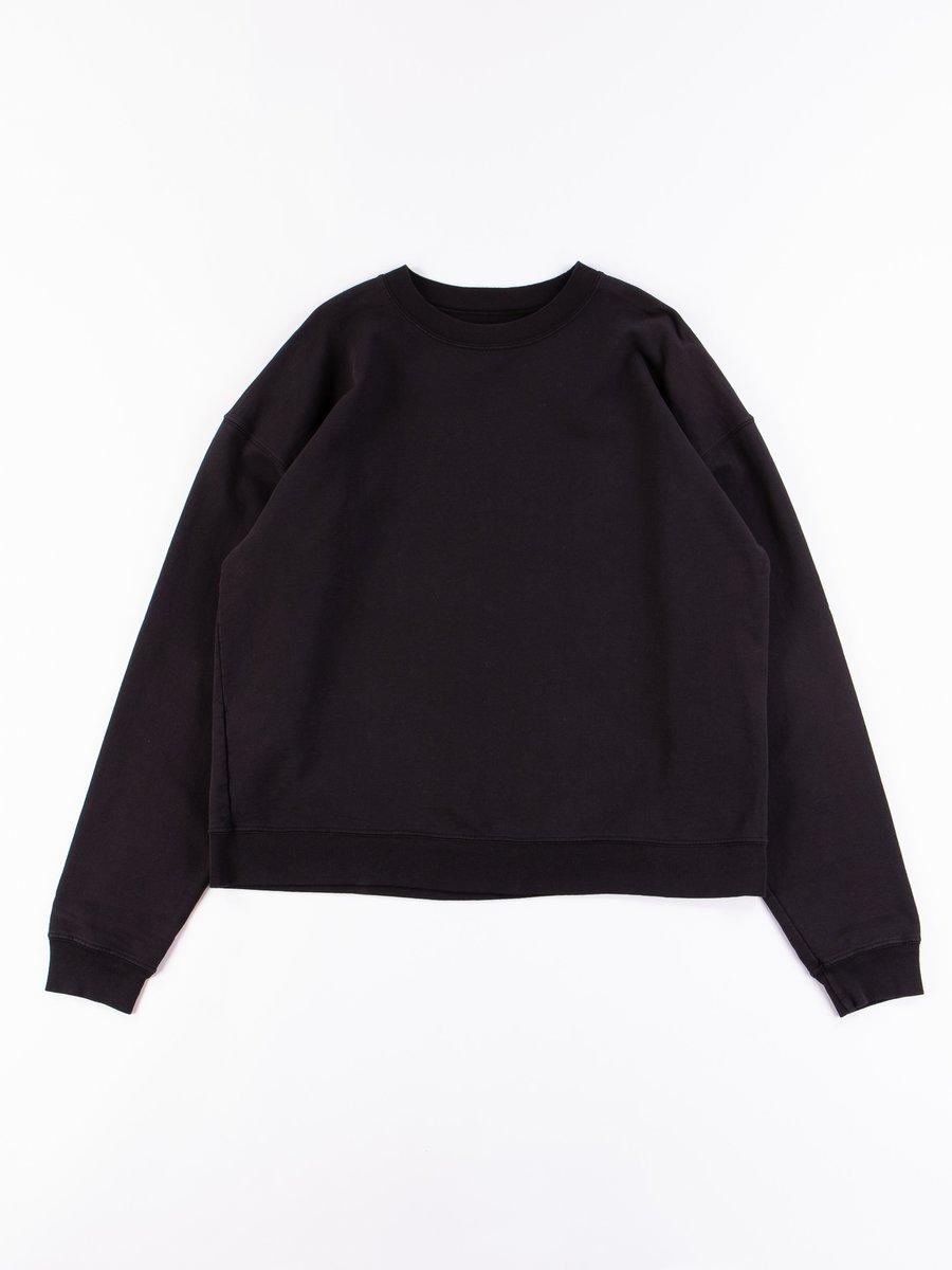Black Cropped Crewneck Sweatshirt