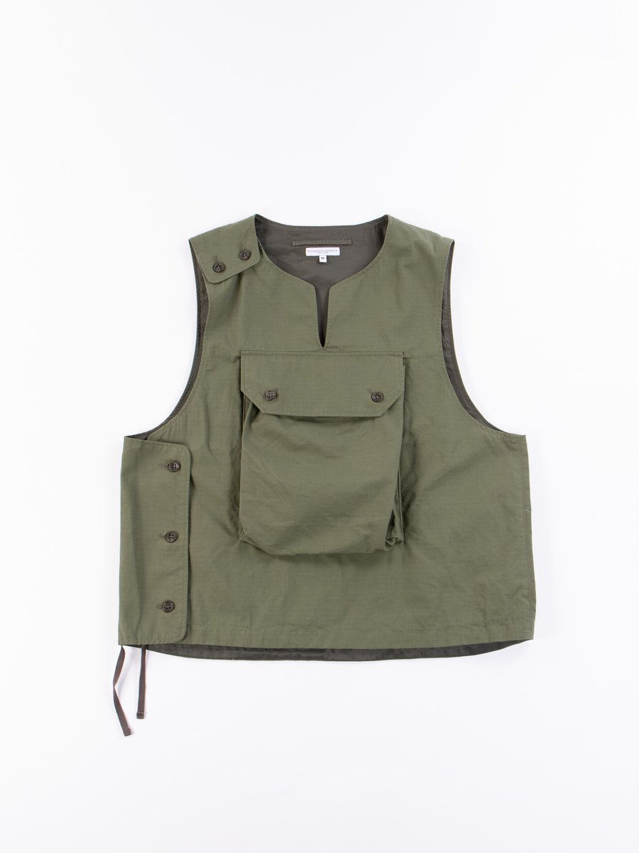 Olive Cotton Ripstop Cover Vest
