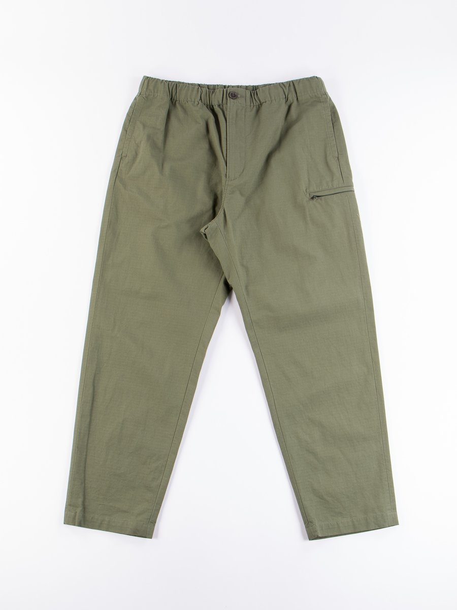 Olive Cotton Ripstop Drawstring Pant