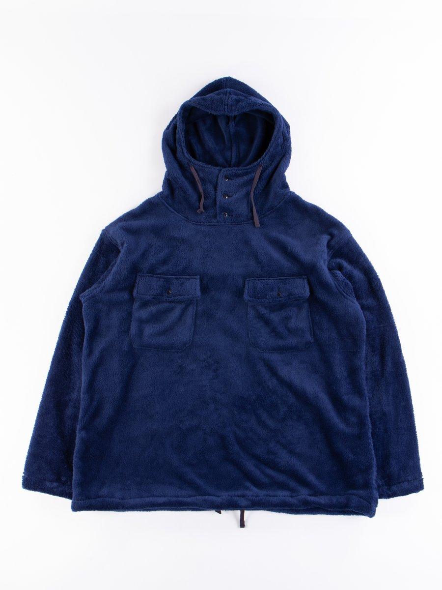 Navy Polyester Shaggy Fleece Cagoule Shirt