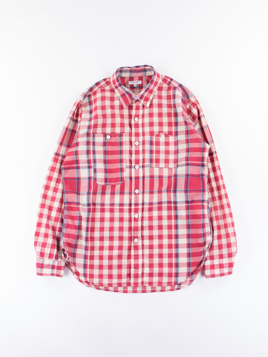 Red/Navy/Light Blue Big Plaid Madras Work Shirt