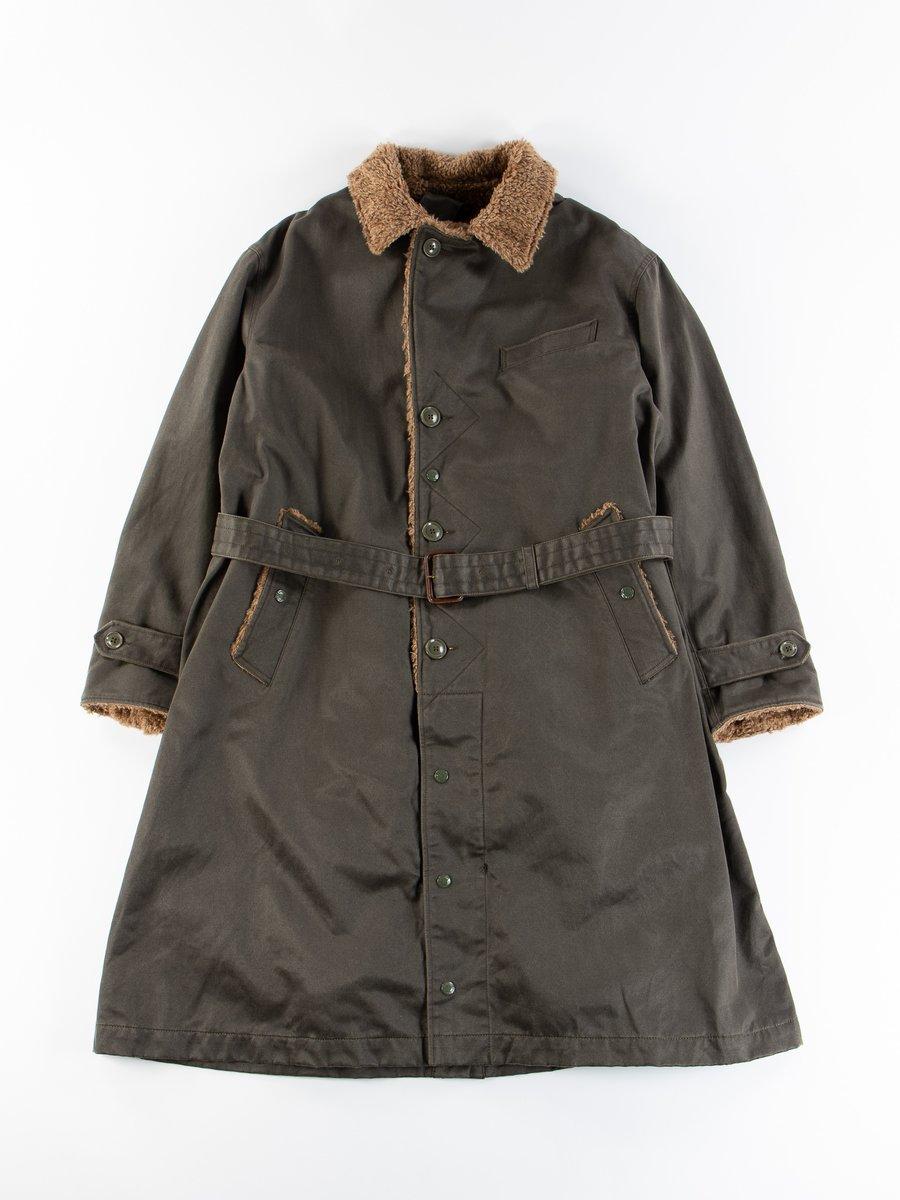 Dark Olive Coated Twill Storm Coat