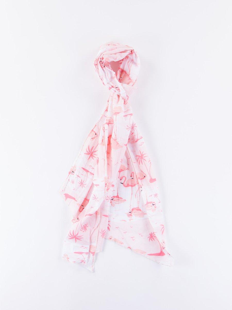 Pink Flamingo Sheeting Long Scarf