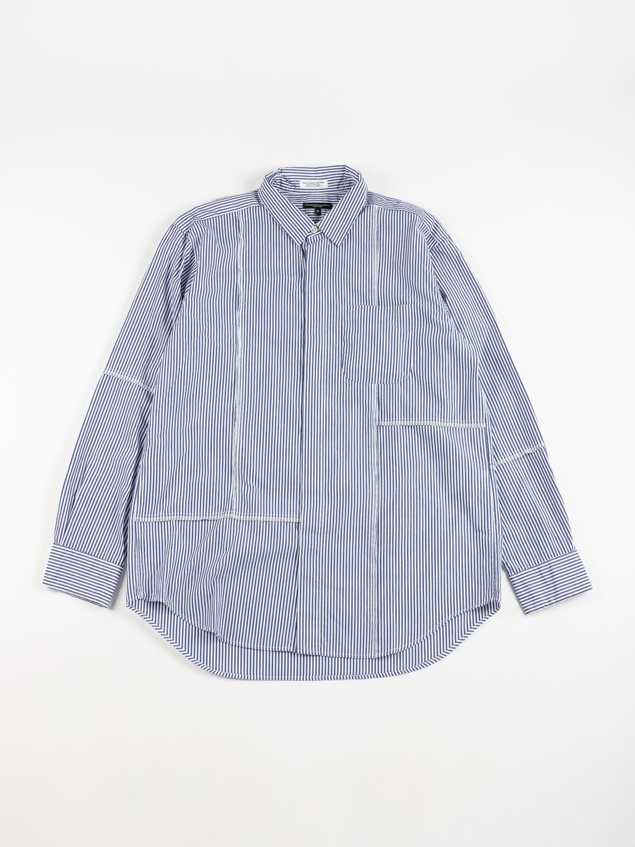COMBO SHORT COLLAR SHIRT BLUE WHITE CANDY STRIPE BROADCLOTH