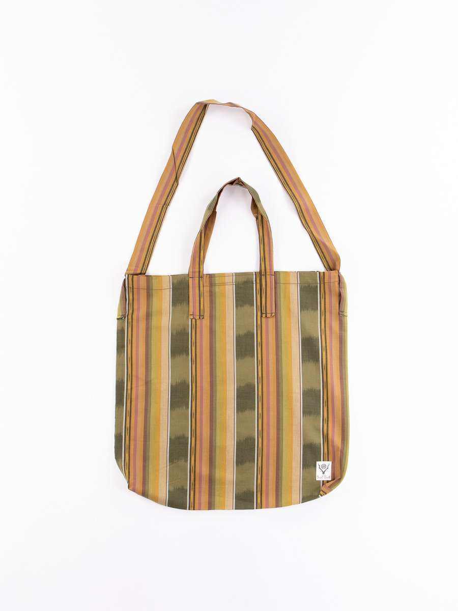 Green/Beige/Brown lkat Pattern Grocery Bag