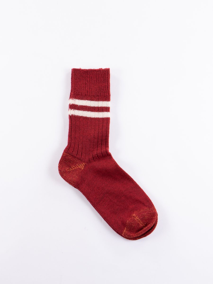 Dark Red/Natural S75 Wool Striped Sport Sock