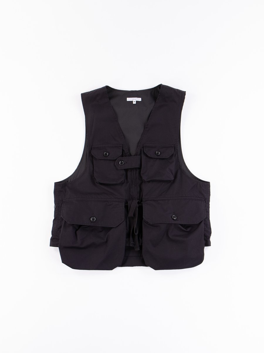 Black Highcount Twill Game Vest