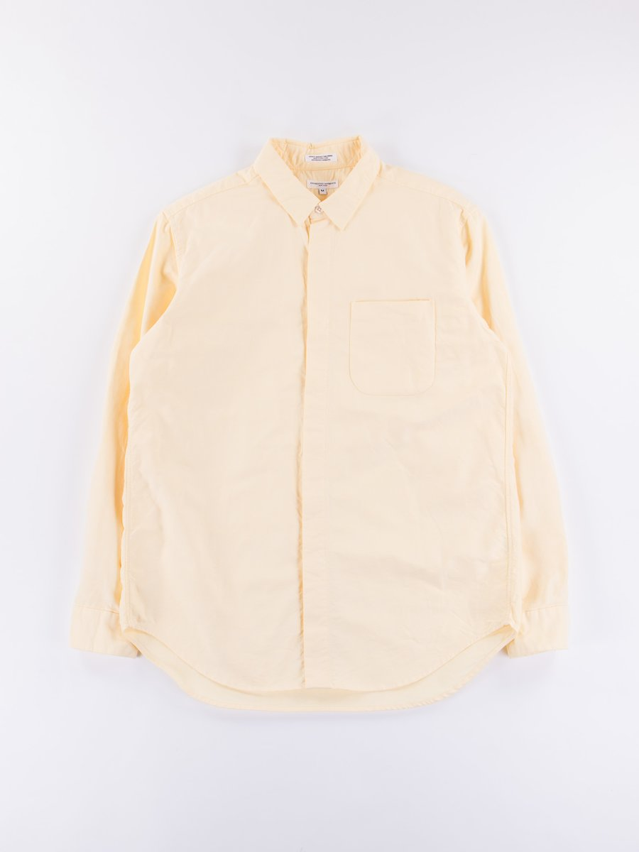 Yellow Solid Cotton Oxford Short Collar Shirt