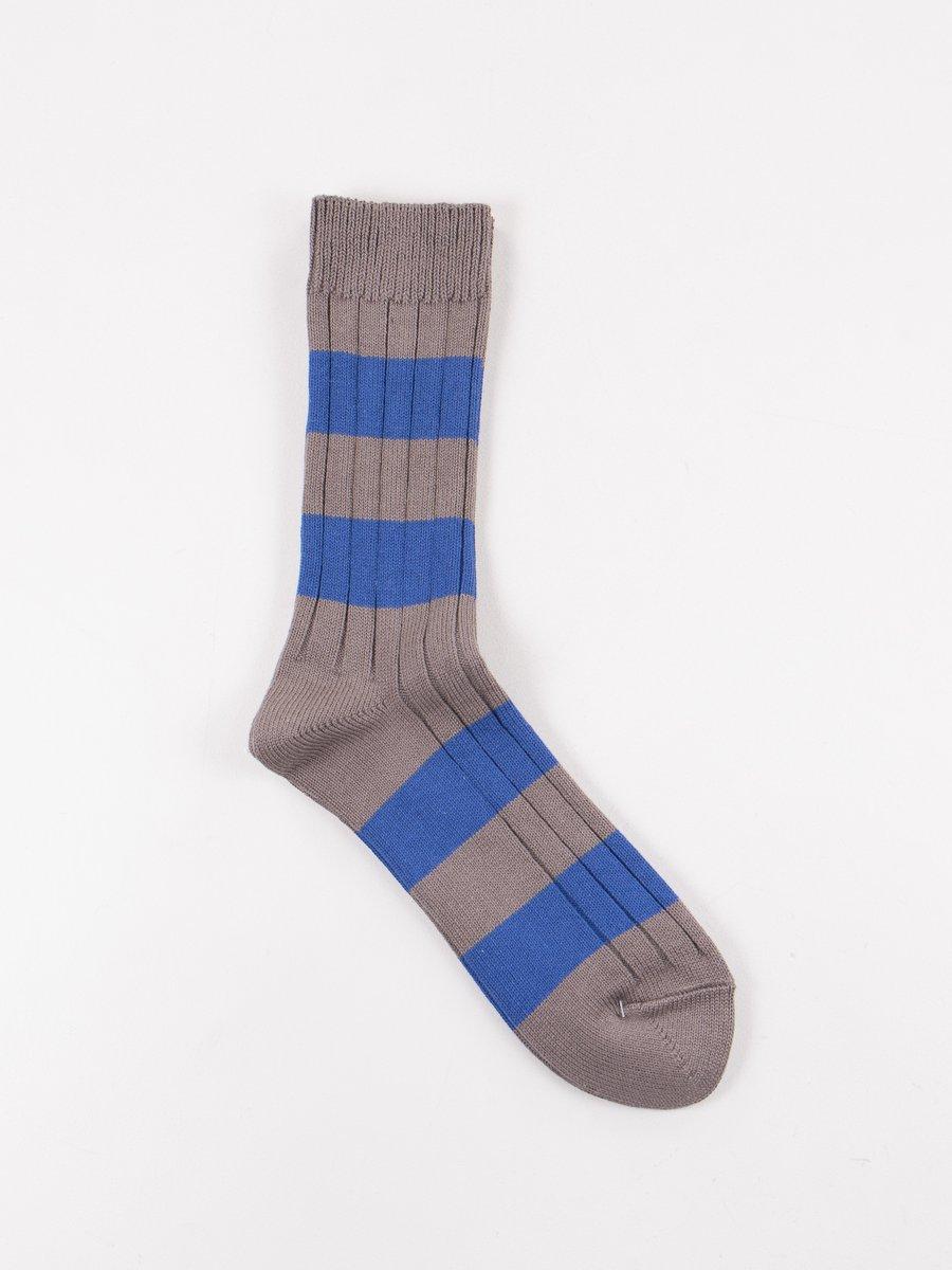 Dark Grey/Blue Wide Border Rib Socks