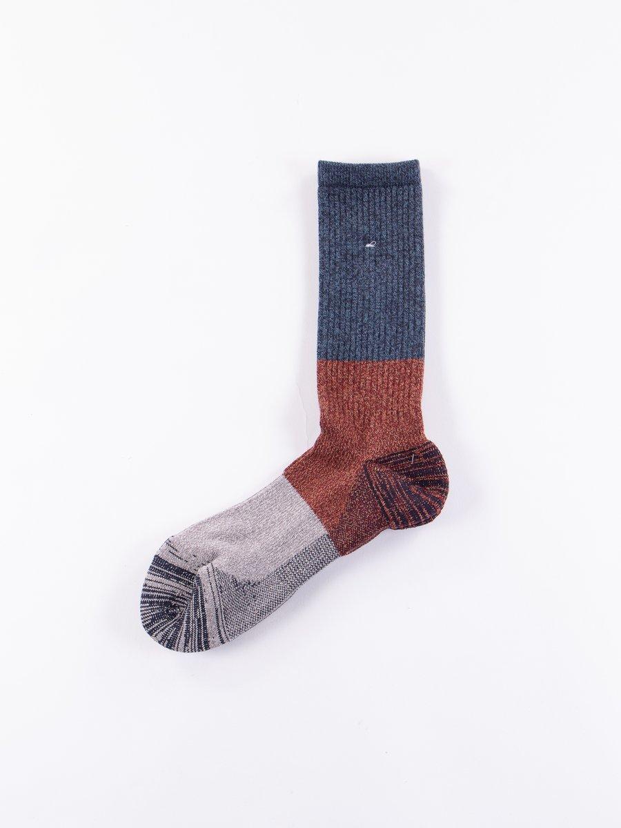 Navy/Red Block Knit Socks
