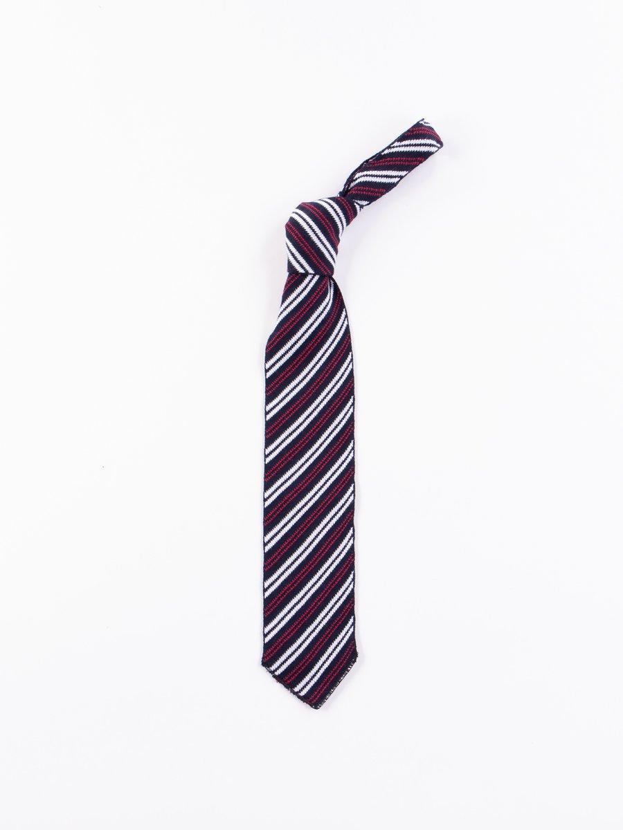 Navy Stripe Knit Tie