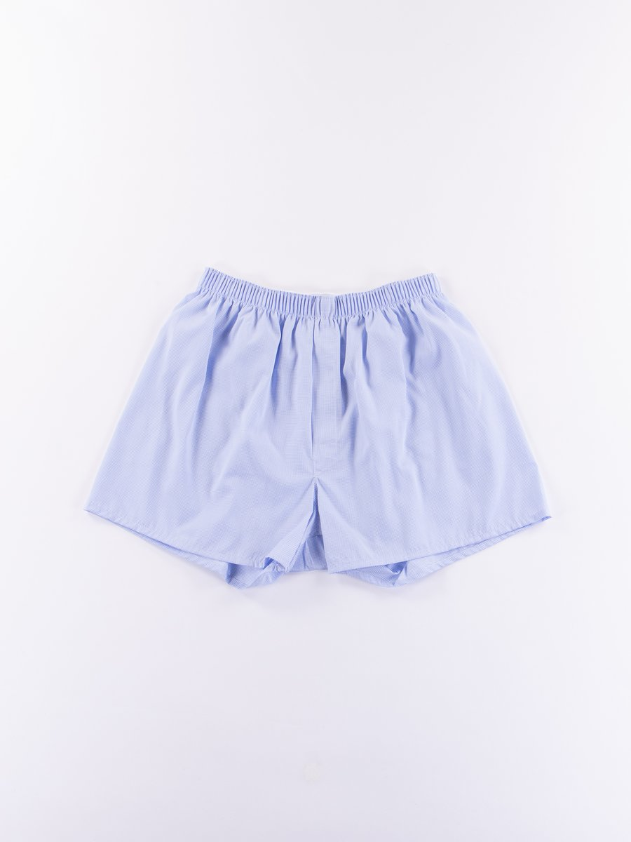 Light Blue Micro Gingham Classic Boxer Short
