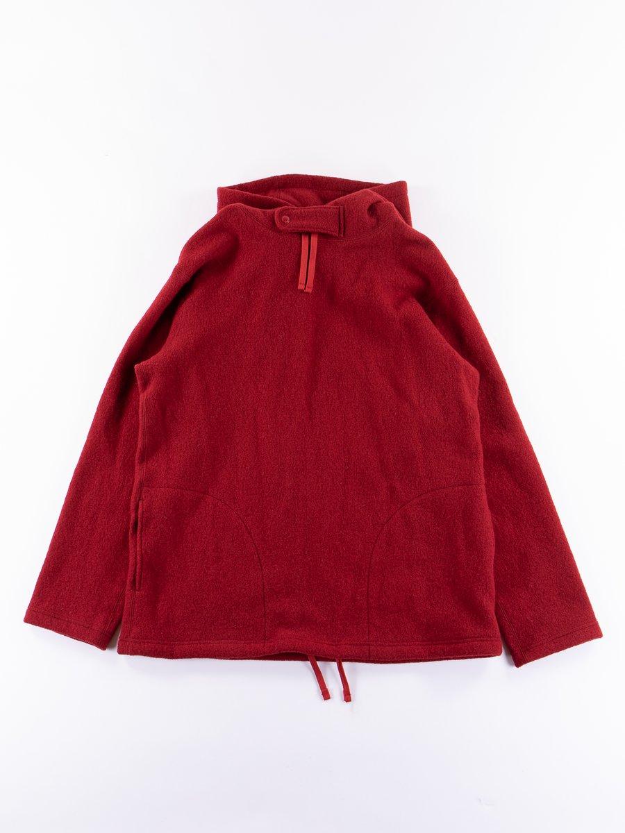 Red Boiled Wool Knit Long Sleeve Hoody