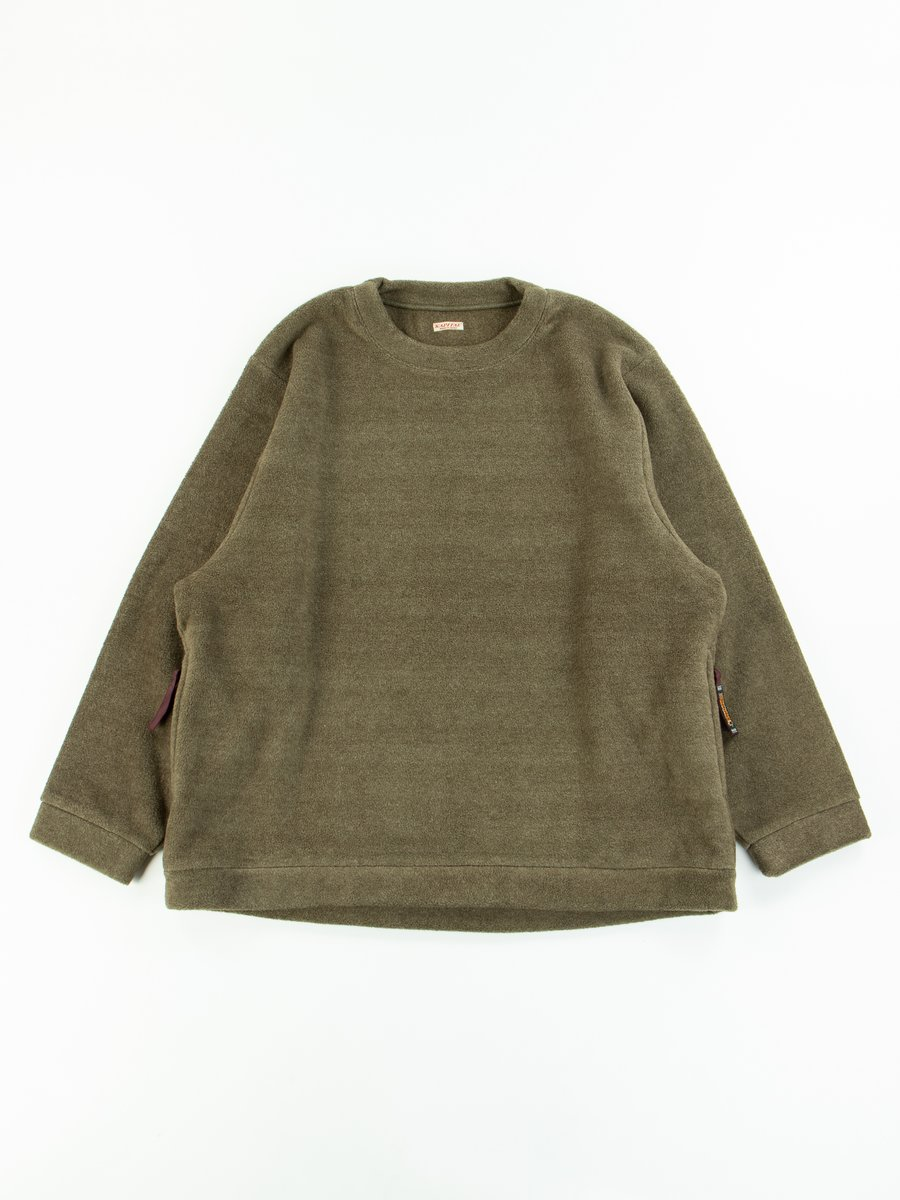 Khaki Reverse Fleece Big Crew Sweatshirt