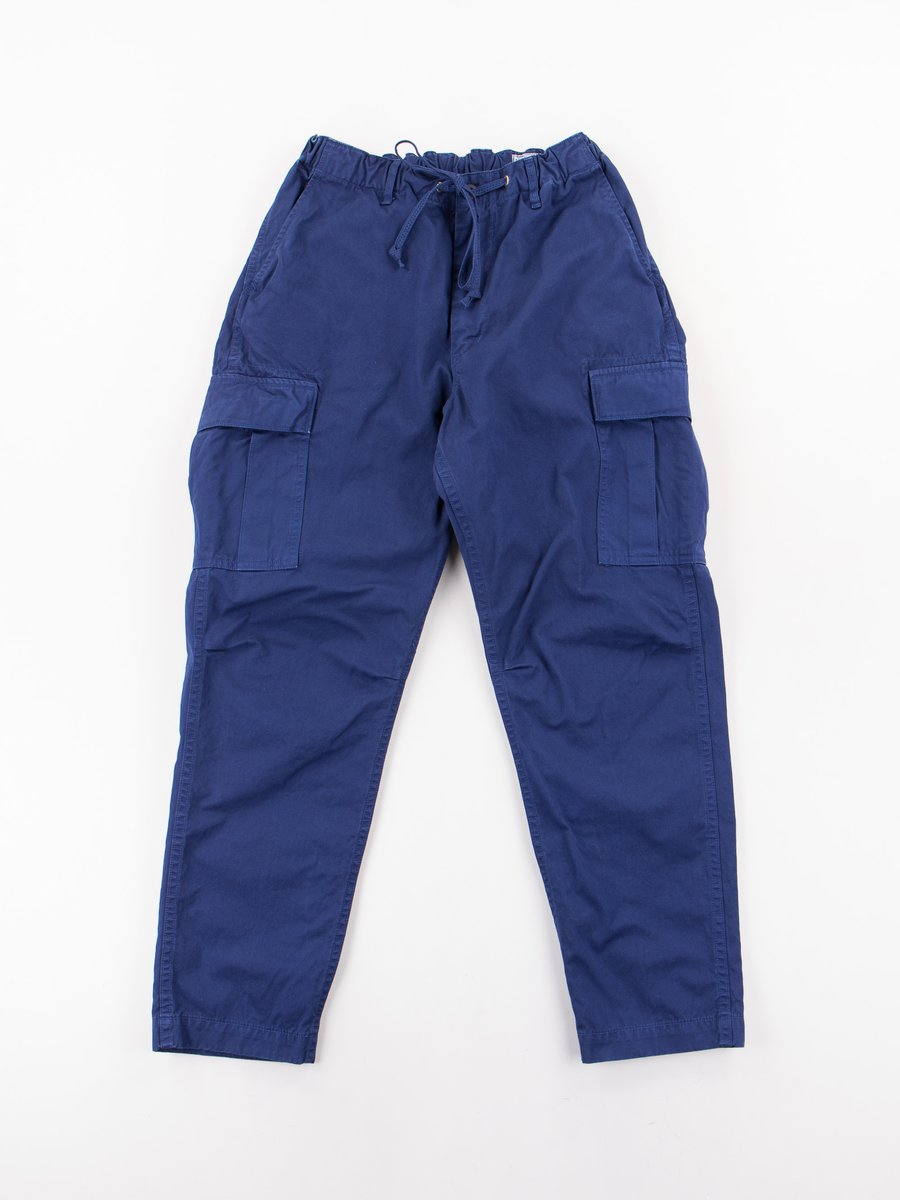 Ink Blue Poplin Easy Cargo Pant