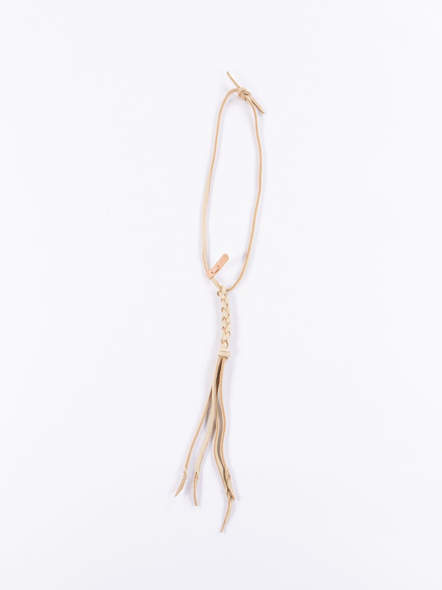 Cream Braided Leather Necklace