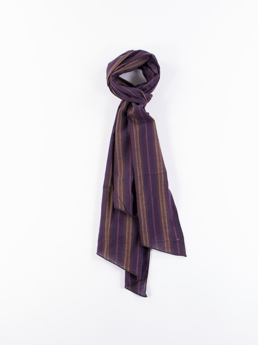 Purple Variegated Stripe Cotton Lawn Long Scarf