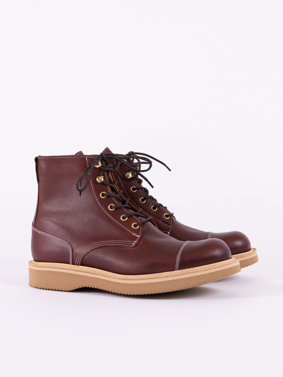 Burgundy Zug Grain TBB Combat Boot