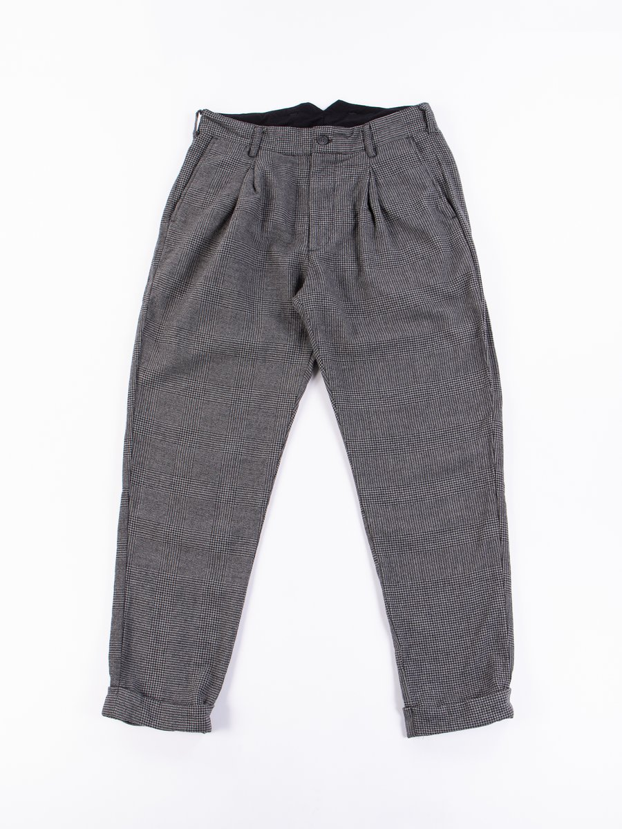 Grey Wool Glen Plaid Houndstooth WP Pant