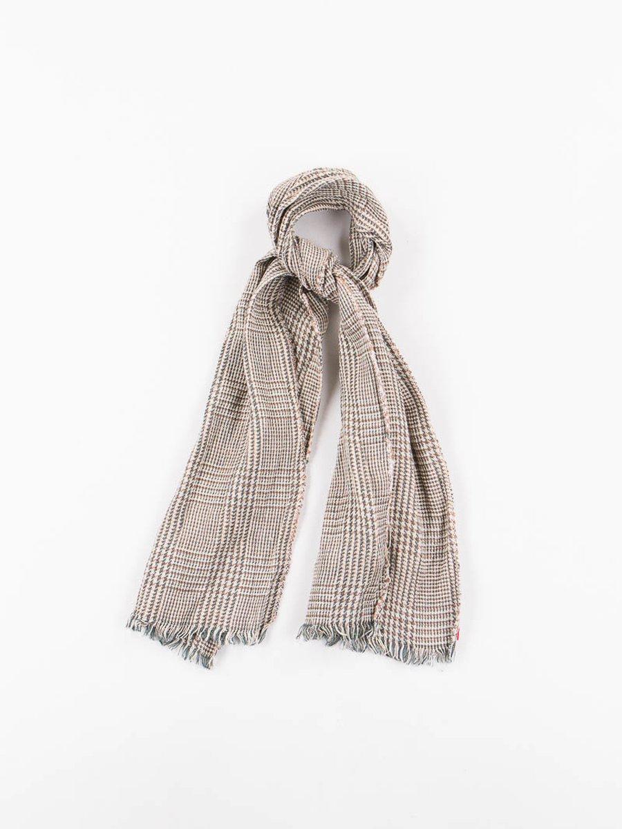 Beige/Olive Hounstooth Check Linen Neck Scarf