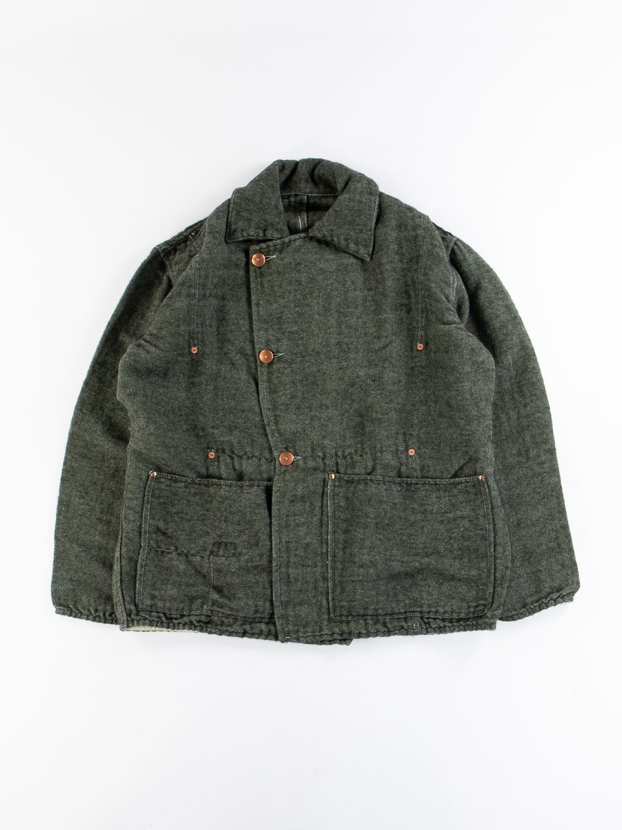 Viridian/Black Cotton/Mohair Shag Cook's Coat