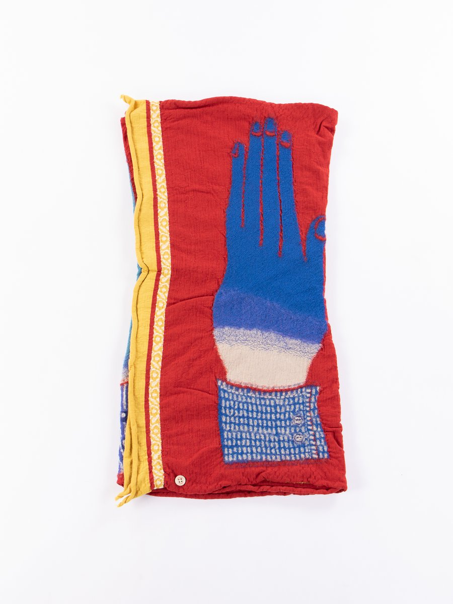 Red Blue Hands Compressed Wool Scarf