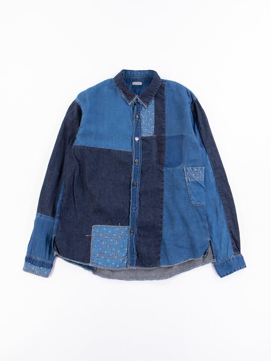 Indigo Cotton/Linen Patchwork Katmandu Shirt