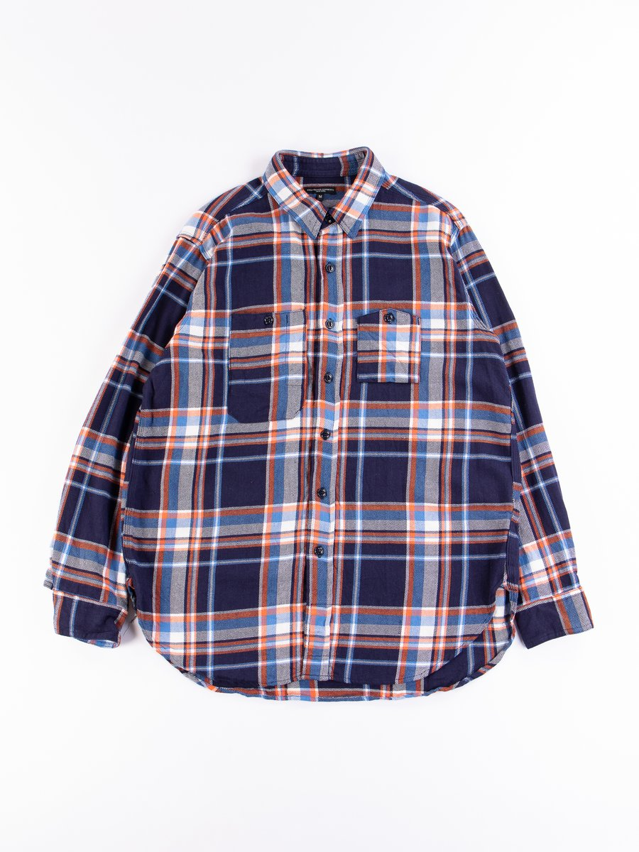 Navy/Orange/Light Blue Cotton Twill Plaid Work Shirt