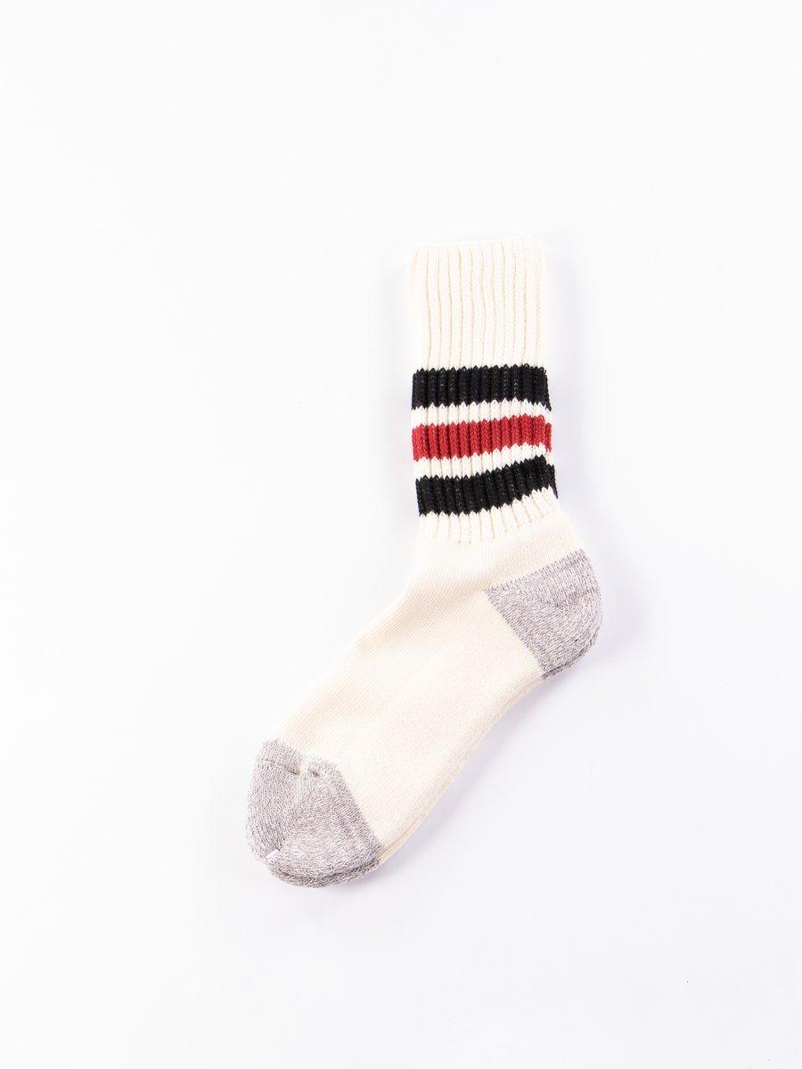 Black/Red Coarse Ribbed Oldschool Socks