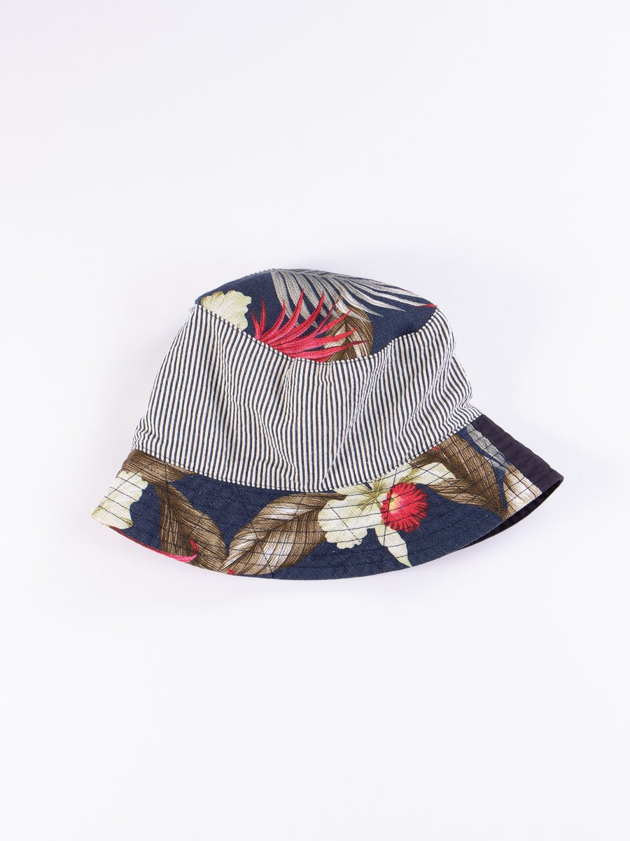 Navy Hawaiian Floral Java Cloth Bucket Hat