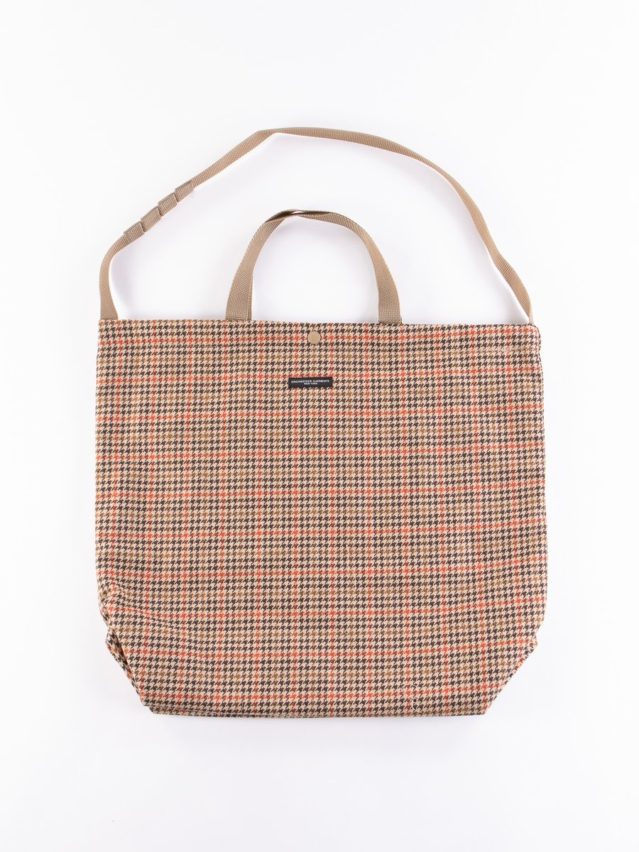 Tan/Orange Wool Big Gunclub Check Carry All Tote