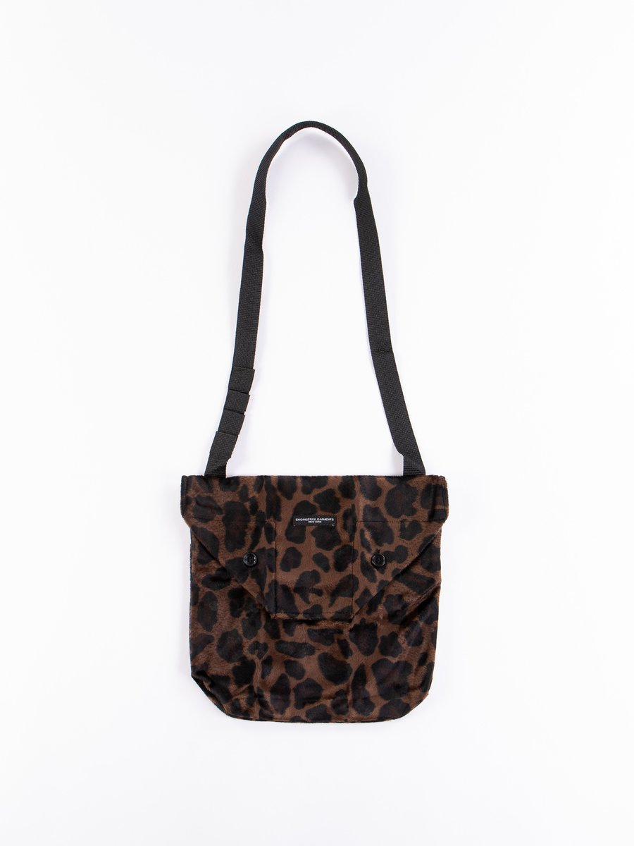 Dark Brown Polyester/Dark Leopard Velvet Shoulder Pouch