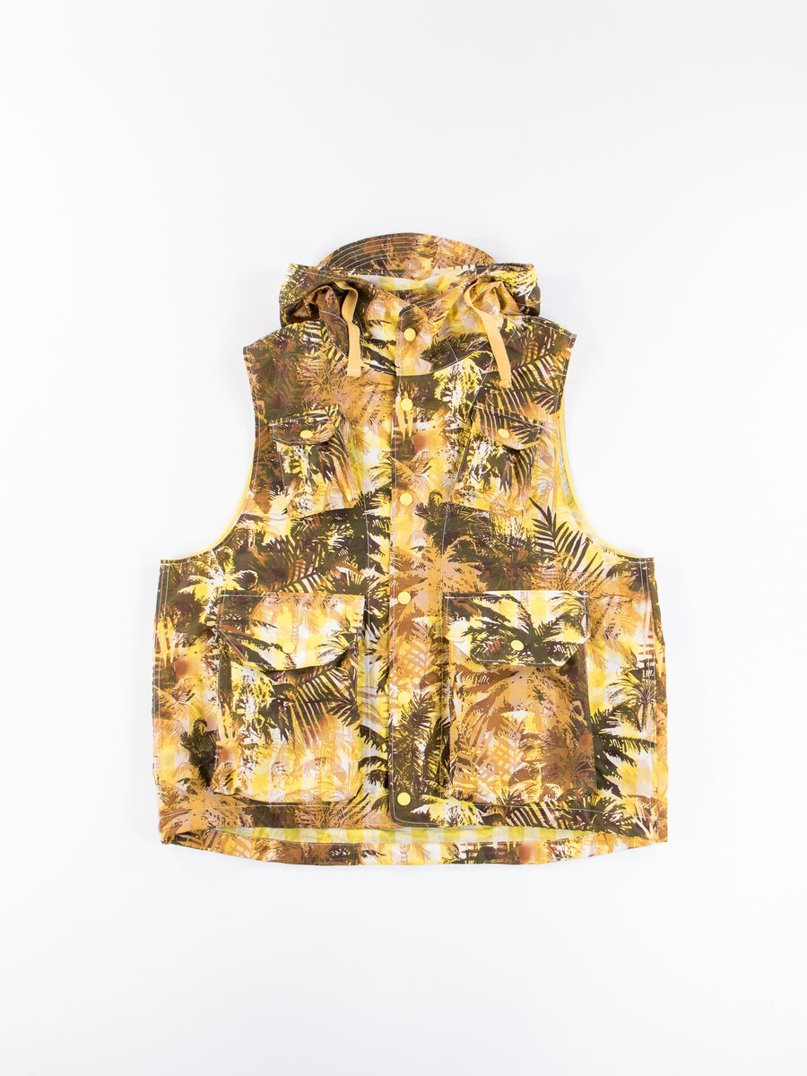 Yellow Nylon Polyester Tropical Floral Print Field Vest