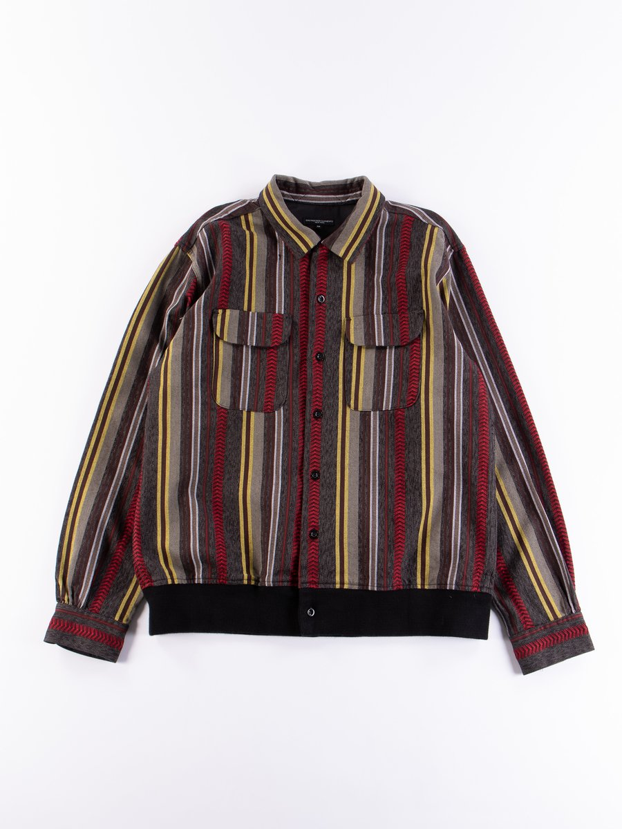 Grey/Yellow/Red Herringbone Dobby Stripe Classic Shirt